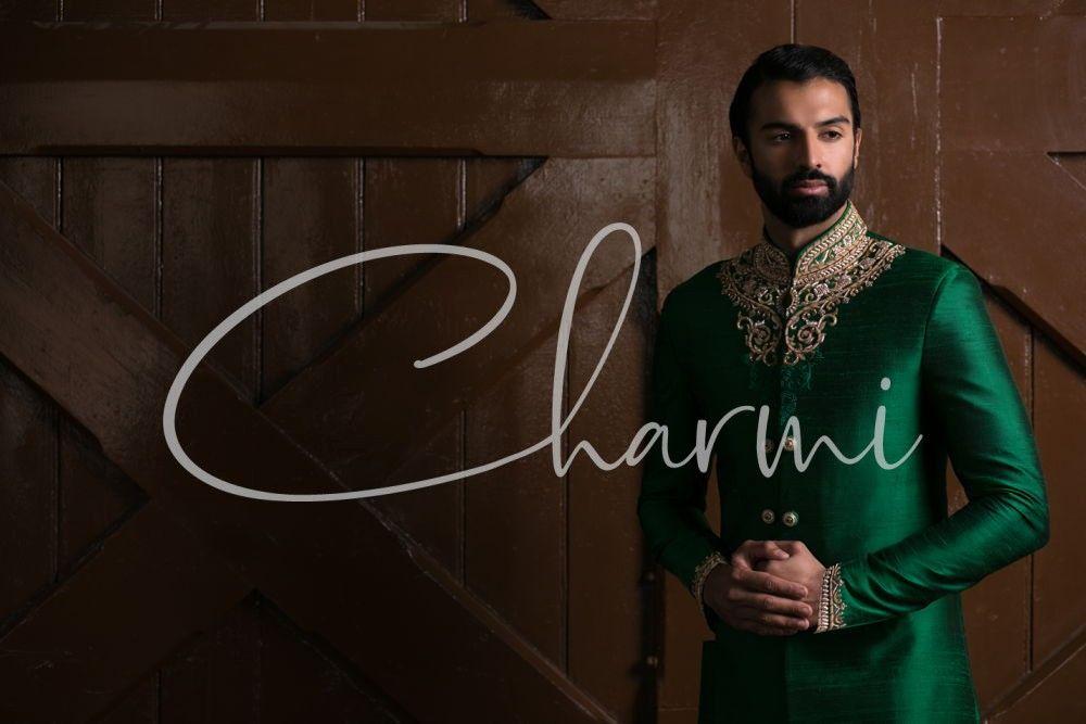Emerald Green Indian Wedding Sherwani for Groom