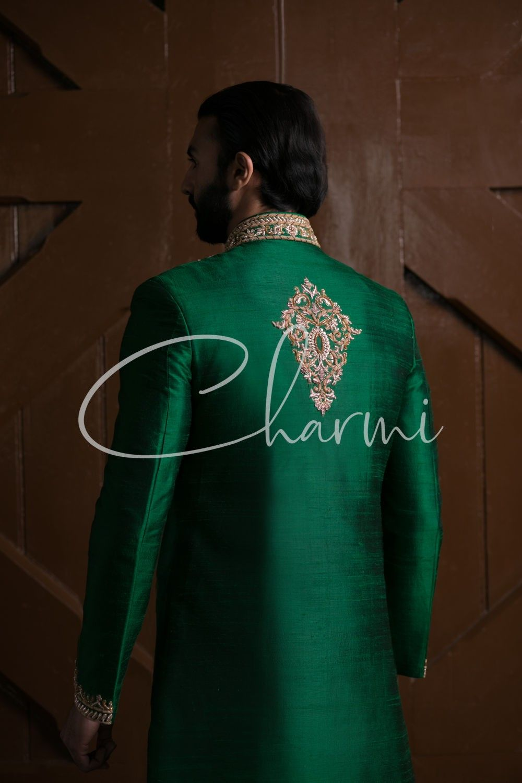 Emerald Green Indian Wedding Grooms Sherwani