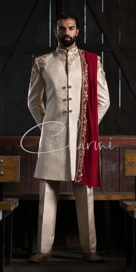 Brocade Silk Mens Sherwani Uk
