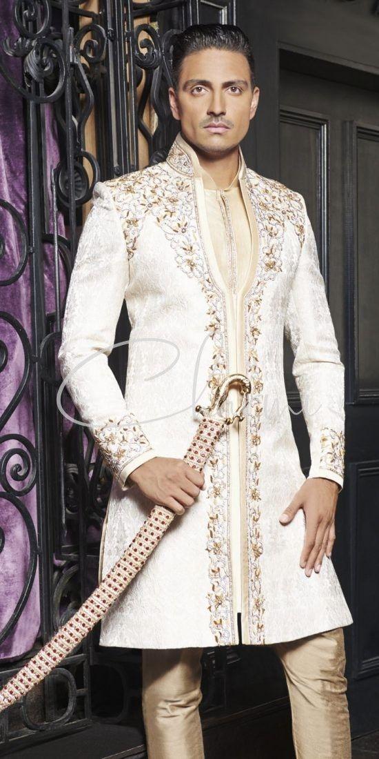 Ivory Brocade 2 Piece Indian Wedding Sherwani