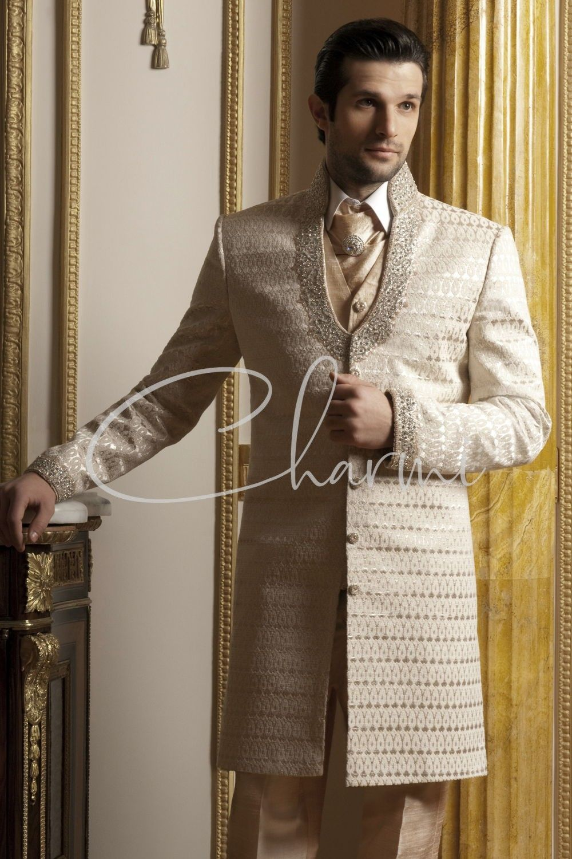 Ivory Brocade Fusion Wedding Suit