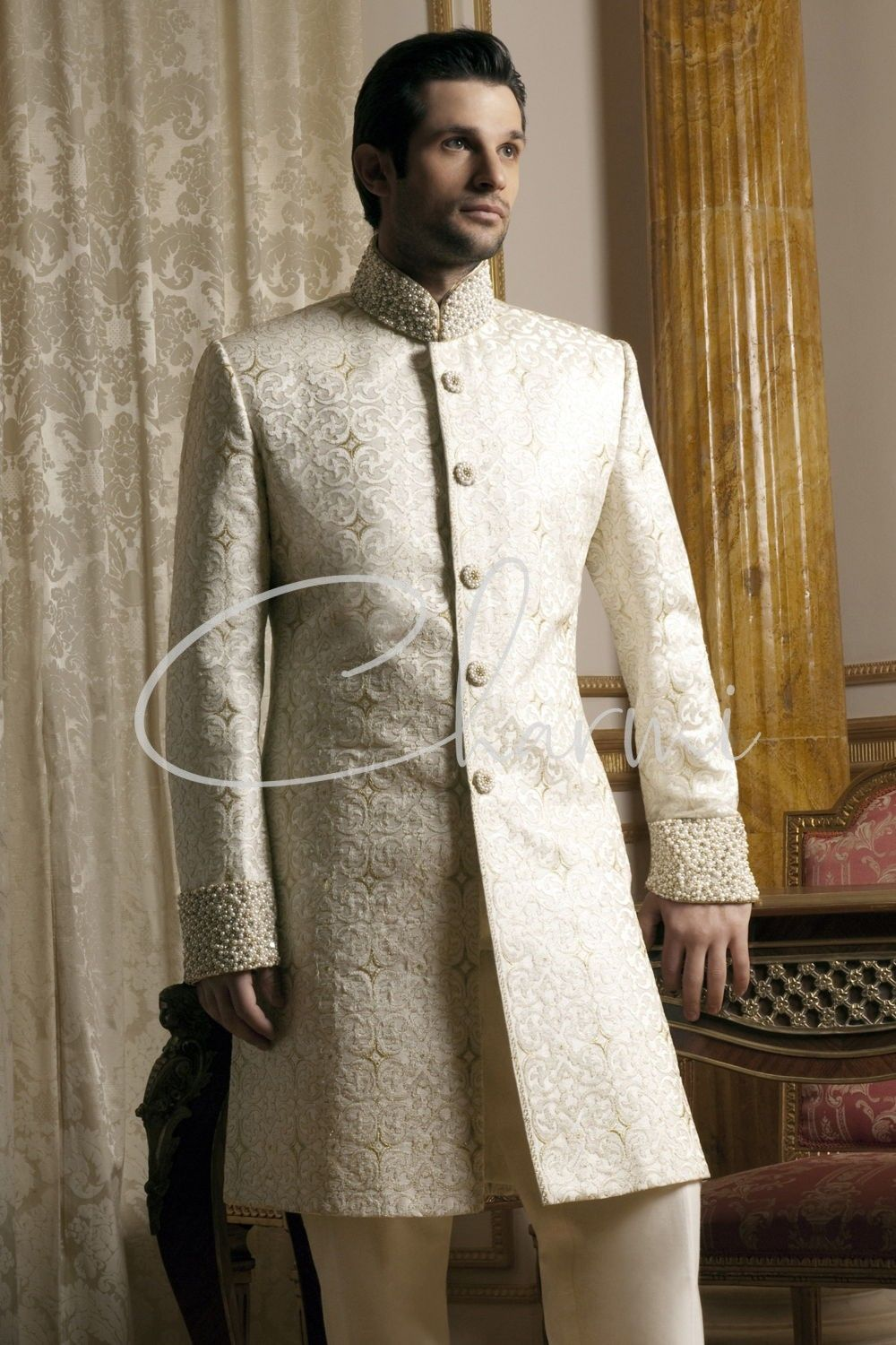 Off White Nehru Collar Indian Grooms Outfit