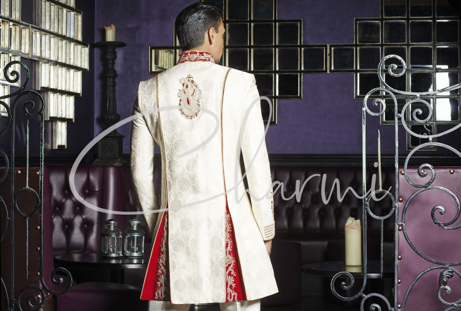 Ivory Brocade Indo Western Indian Groom Outfit UK