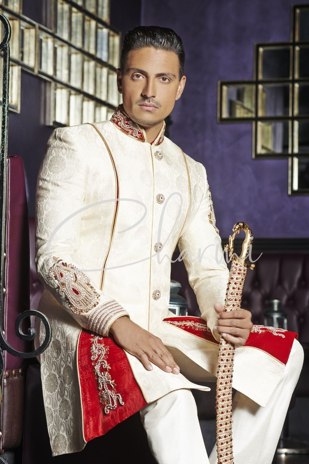 Ivory Brocade Indo Western Indian Groom Outfit