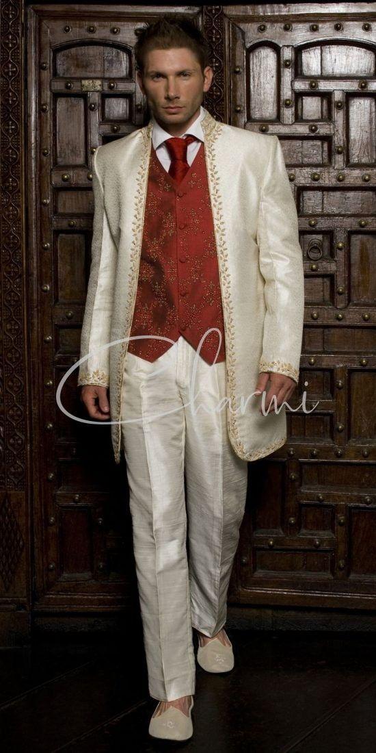 Ivory Brocade Indian Wedding Suit with Waistcoat
