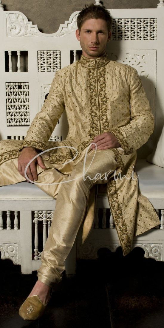 Gold Tradition Pre Wedding Kurta Pyjama for Men