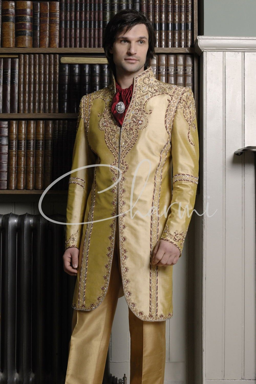 Gold Indo-Western Wedding Suit