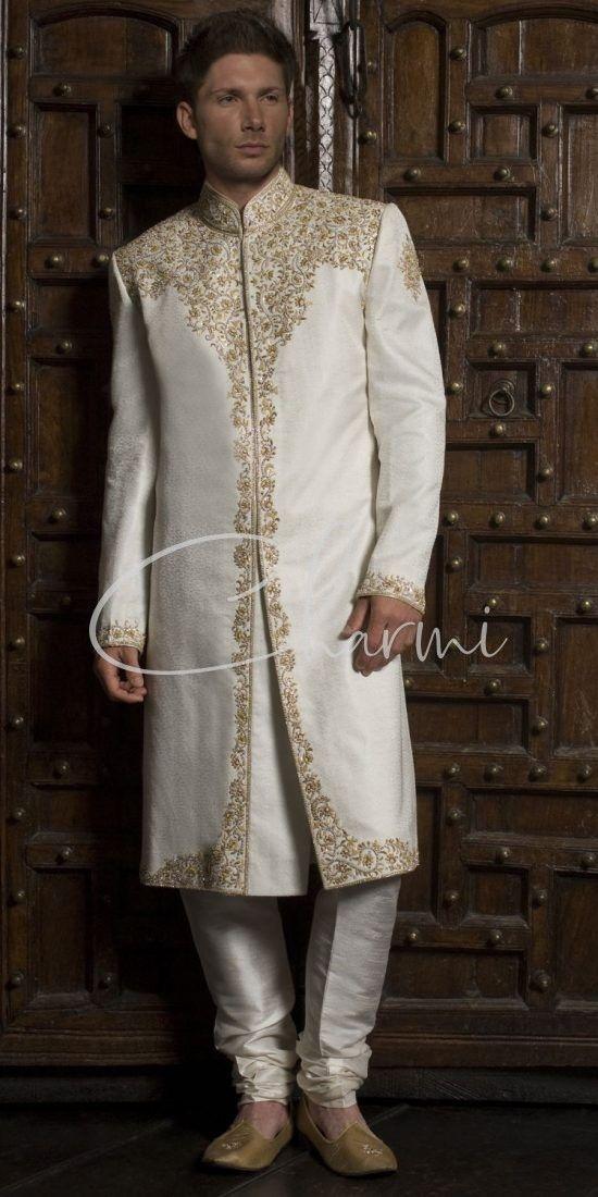Traditional Wedding Sherwani in Ivory Brocade