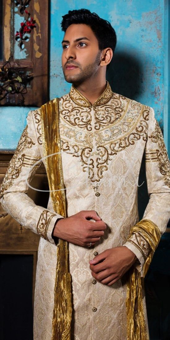 Gold Brocade Fusion Sherwani for Groom