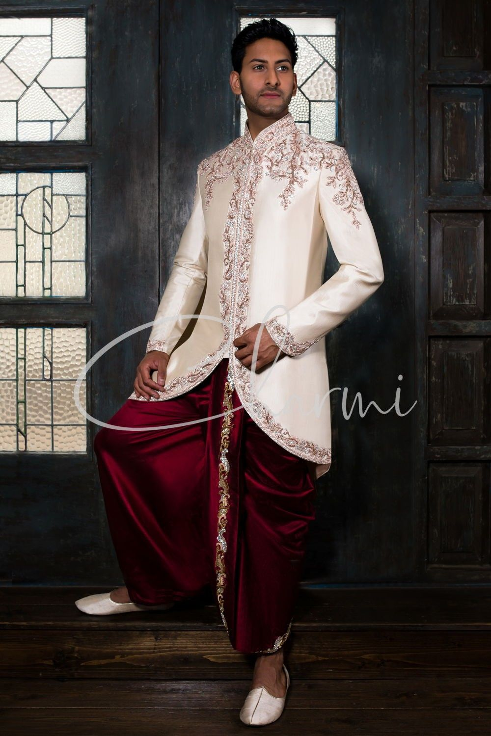 Ivory Silk Short Jacket with Red Dhoti - Asian Grooms Wear