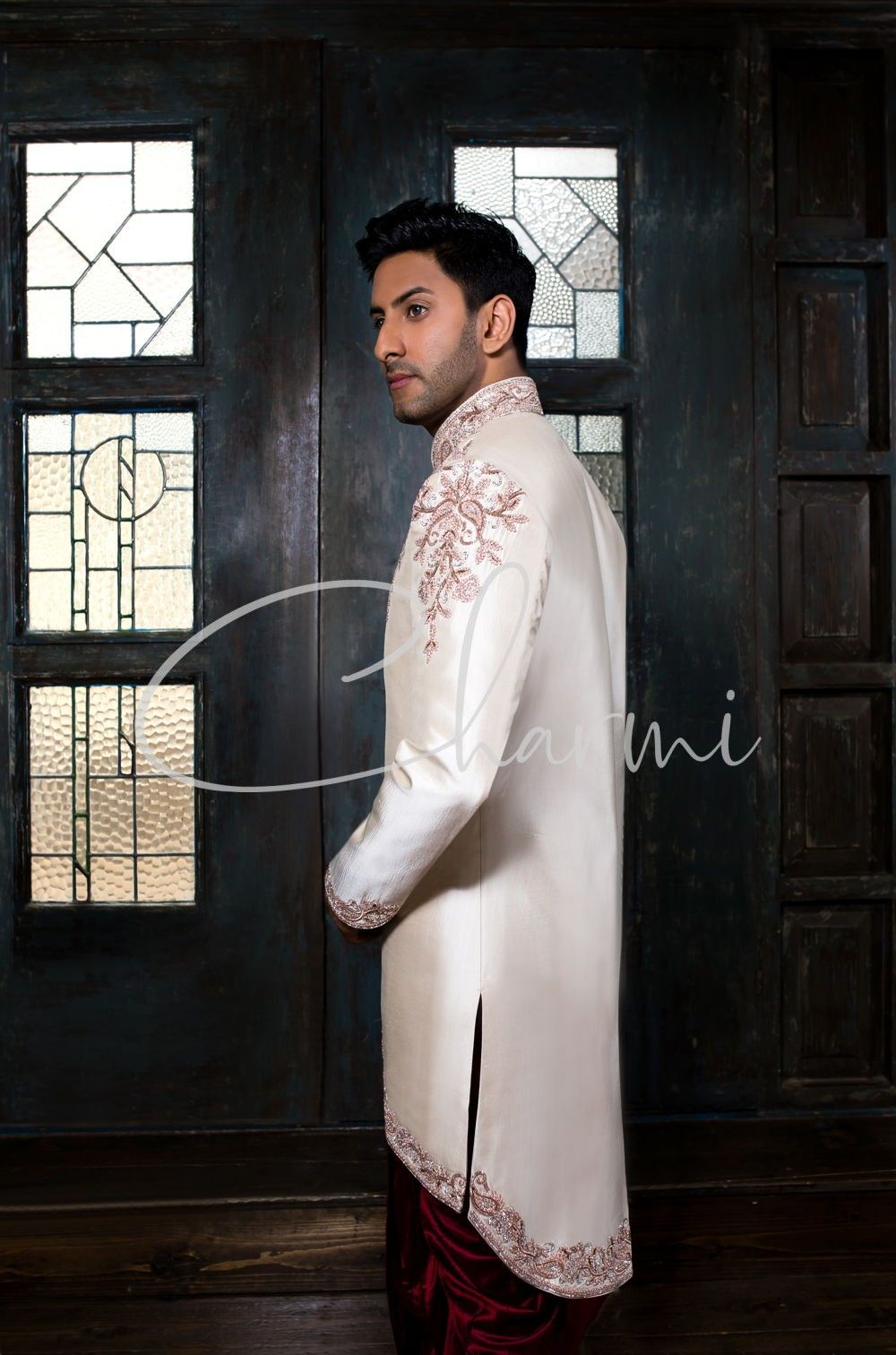 Ivory Silk Short Jacket with Red Dhoti - Asian Grooms Wear UK