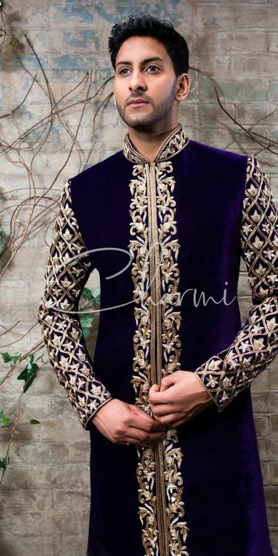 Traditional Velvet Sherwani for Groom
