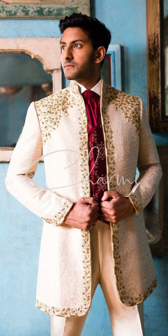 Ivory Brocade Silk Grooms Sherwani with Red Waistcoat