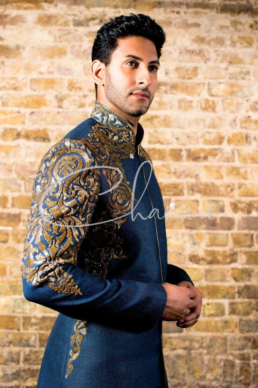 Blue Fusion Wedding Suit for Men
