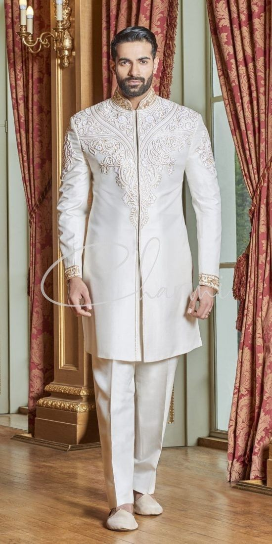 Off White Raw Silk Fusion Sherwani for Groom