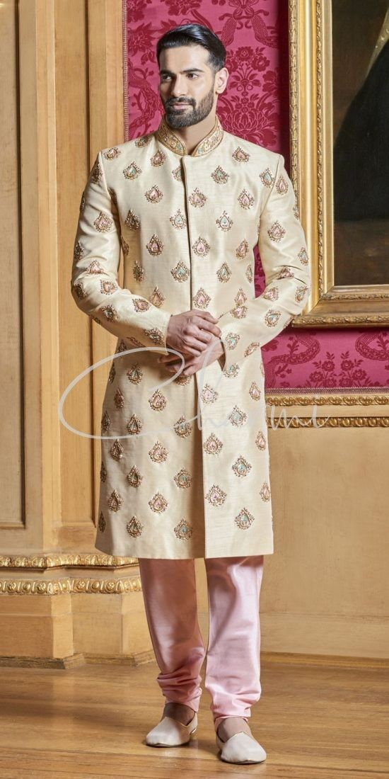 Gold Raw Silk Pre Wedding Suit