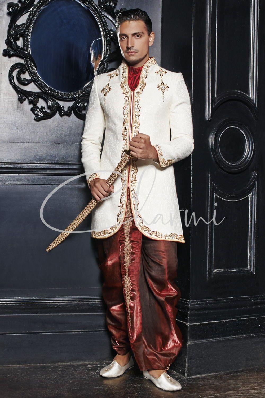 Ivory Brocade & Red Dhoti Mens Wedding Sherwani