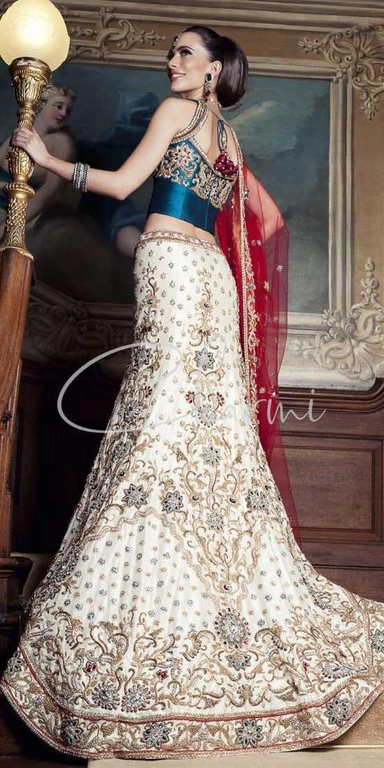 Ivory Wedding Lehenga with Trail & Blue Blouse