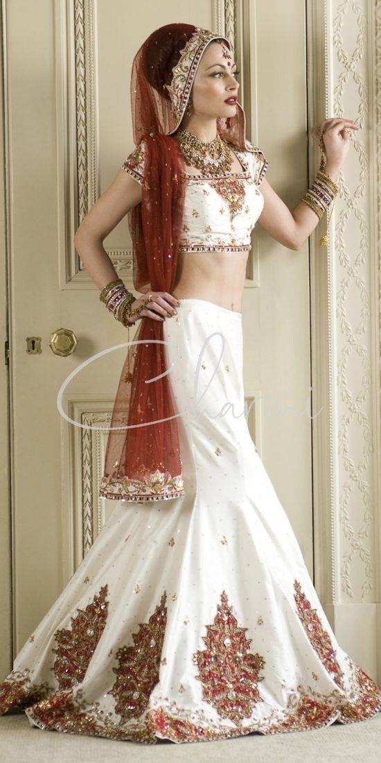 White Raw Silk Traditional Wedding Lehenga