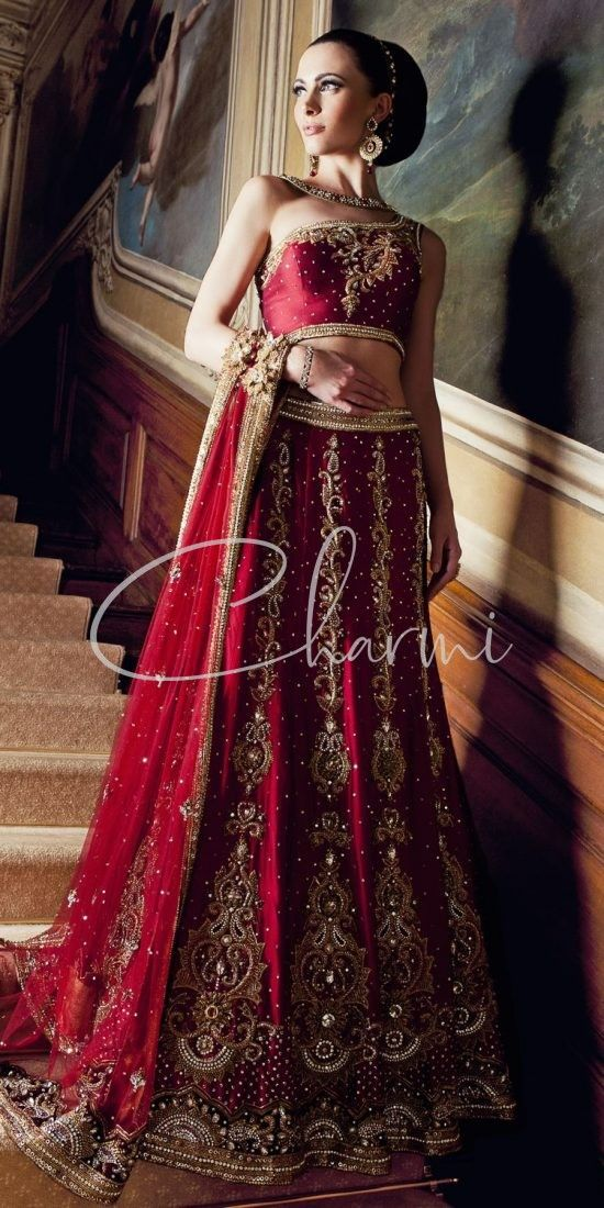 2 Tone Maroon Lehenga for Indian Wedding