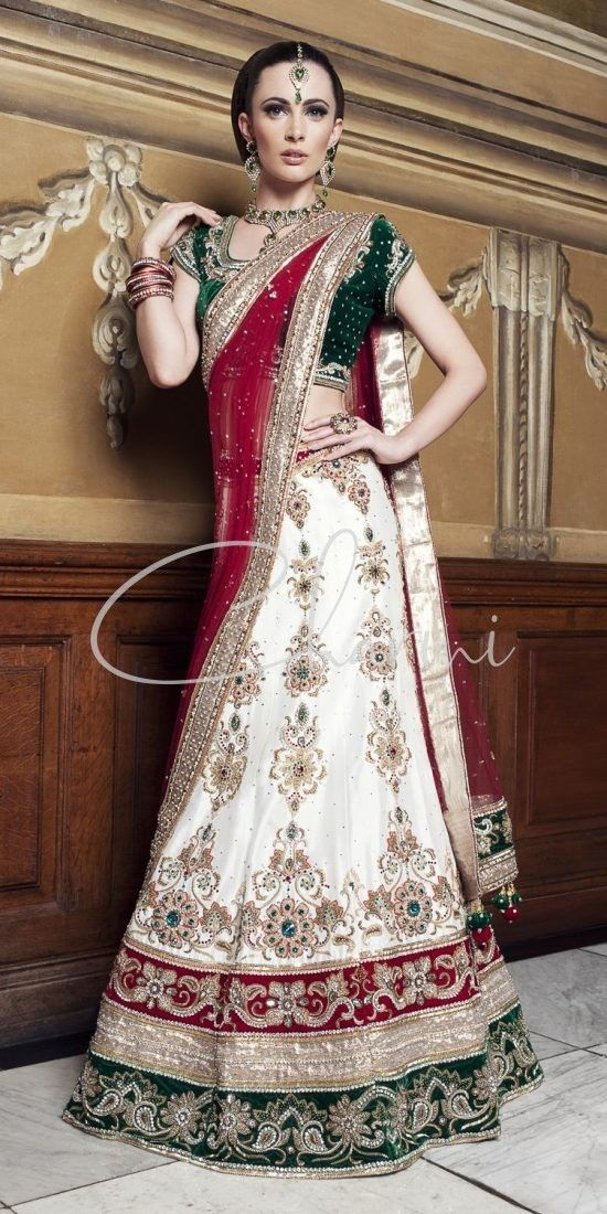 Emerald Green & White Traditional Wedding Lehenga