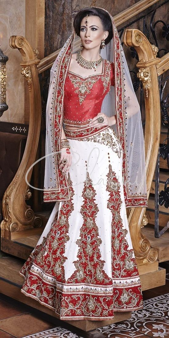 Red Blouse & White Lehenga for Indian Wedding