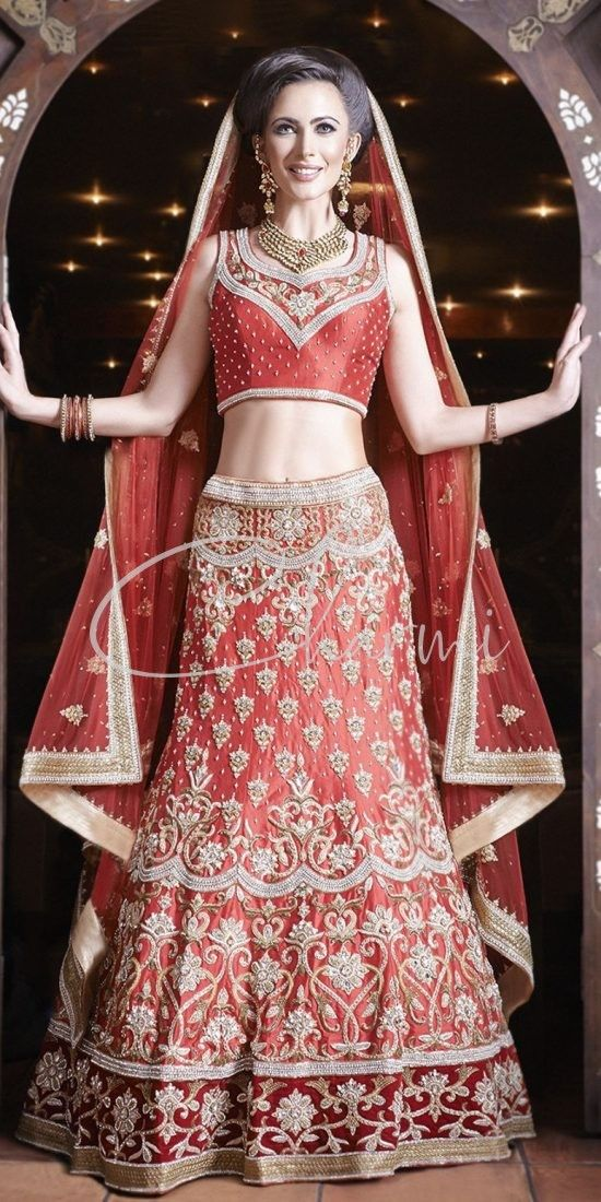 Red Raw Silk Asian Bridal Wear Lehenga
