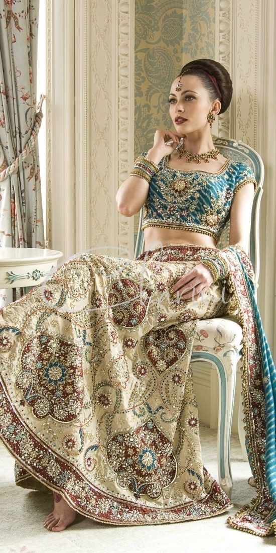Emerald Green & Ivory Fusion Wedding Lehenga