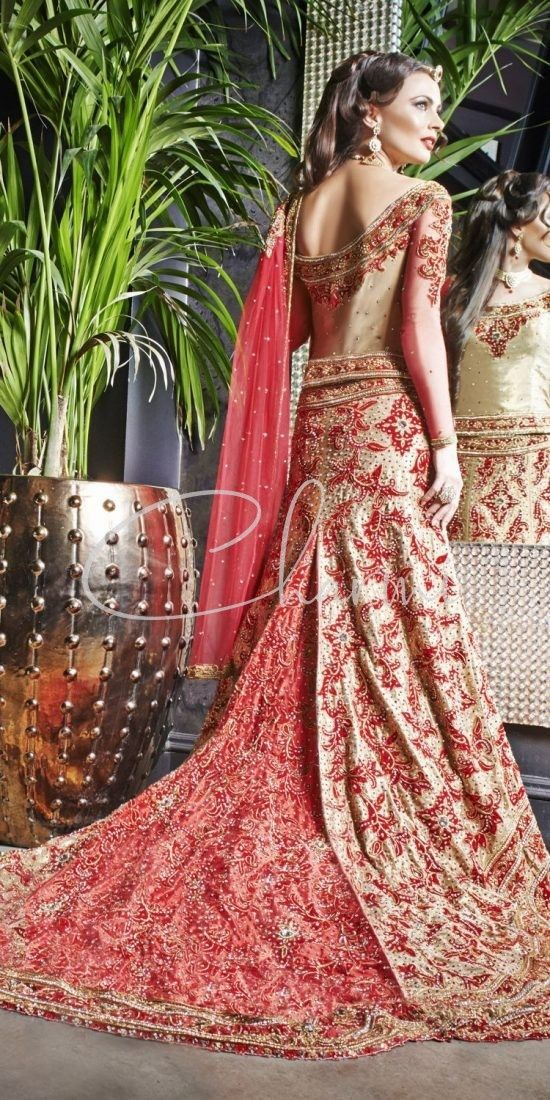 Gold Fusion Lehenga with Trail - Asian Wedding Dresses