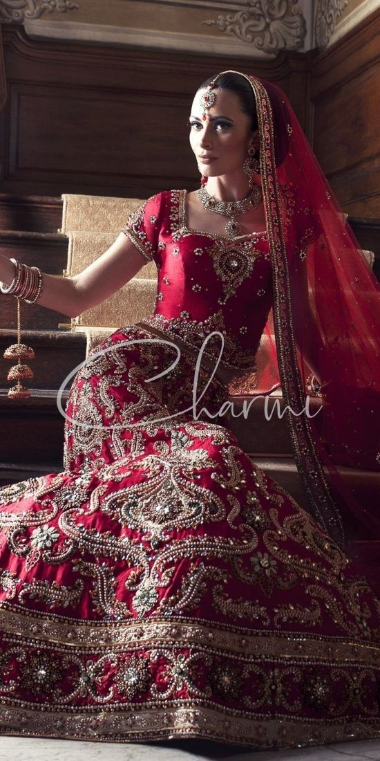 Red Traditional Wedding Lehenga