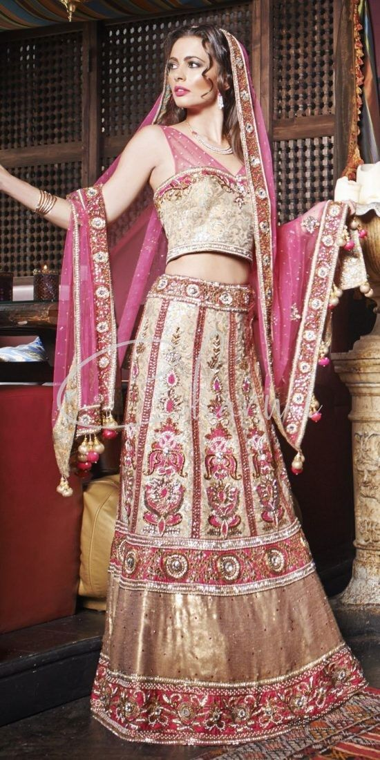 Pink Brocade Fusion Wedding Outfit