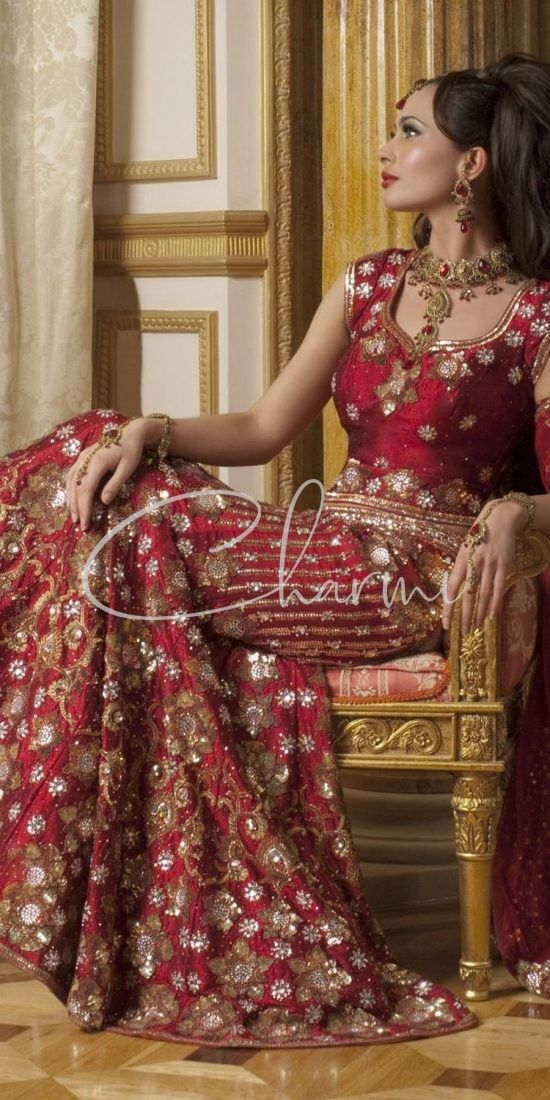 Dark Red Traditional Wedding Wear Lehenga