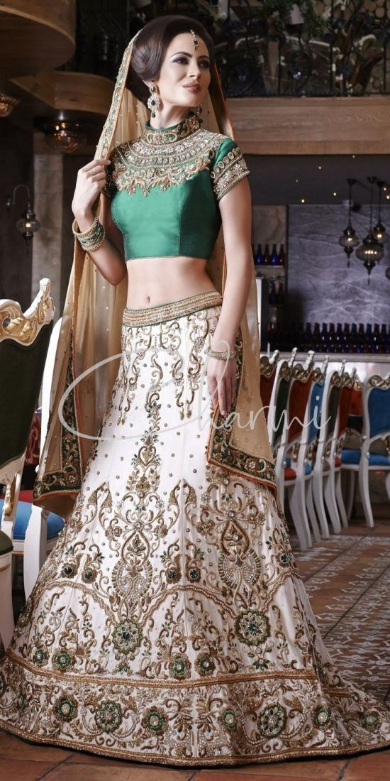 Emerald Green & Ivory Traditional Wedding Lehenga