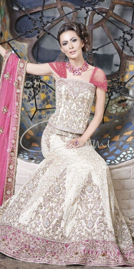 Ivory Brocade & Pink Combination Indian Wedding Lehenga