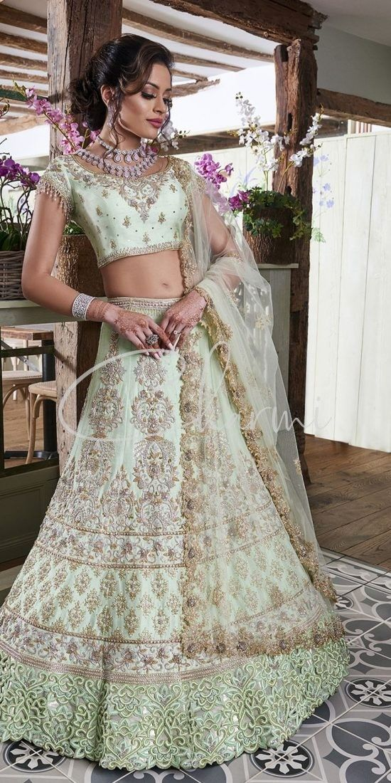 Mint Green Lehenga - Evening Wedding Reception Outfit