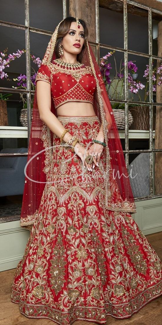 Red Raw Silk Asian Bridal Wear