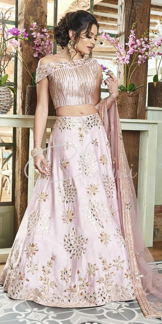 Dusky Pink Indian Wedding Reception Lehenga