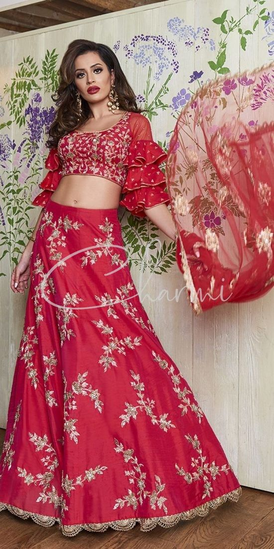 Dark Pink Skirt with Ruffled Blouse - Party Wear Lehenga