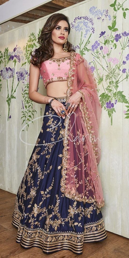 Navy Blue & Pink Reception Party Wear Lehenga