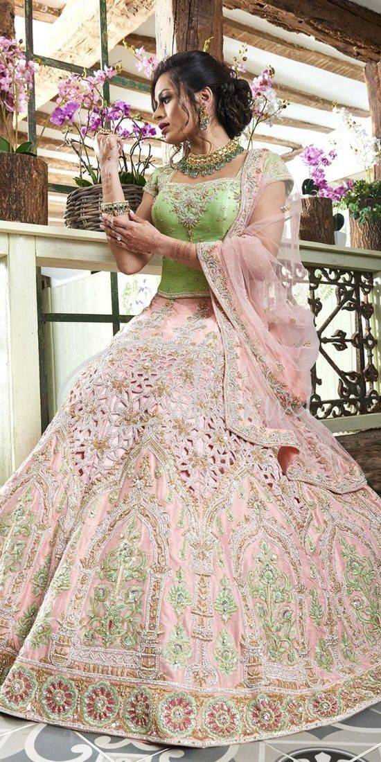 Baby Pink & Green Diamond Cutwork Lehenga - Indian Bridal Wedding Wear