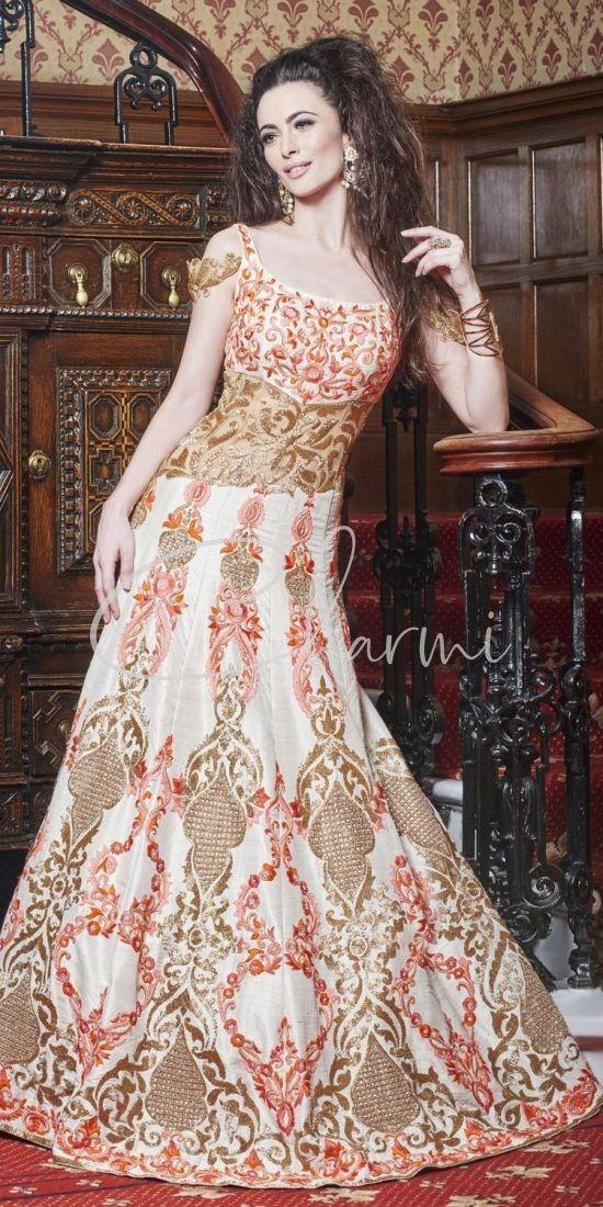 Ivory & Peach Raw Silk Fusion Bridal Dress