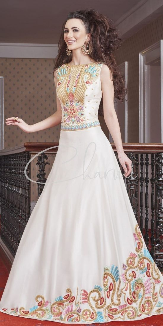 White Silk Reception Gown with Multi Colored Embroidery