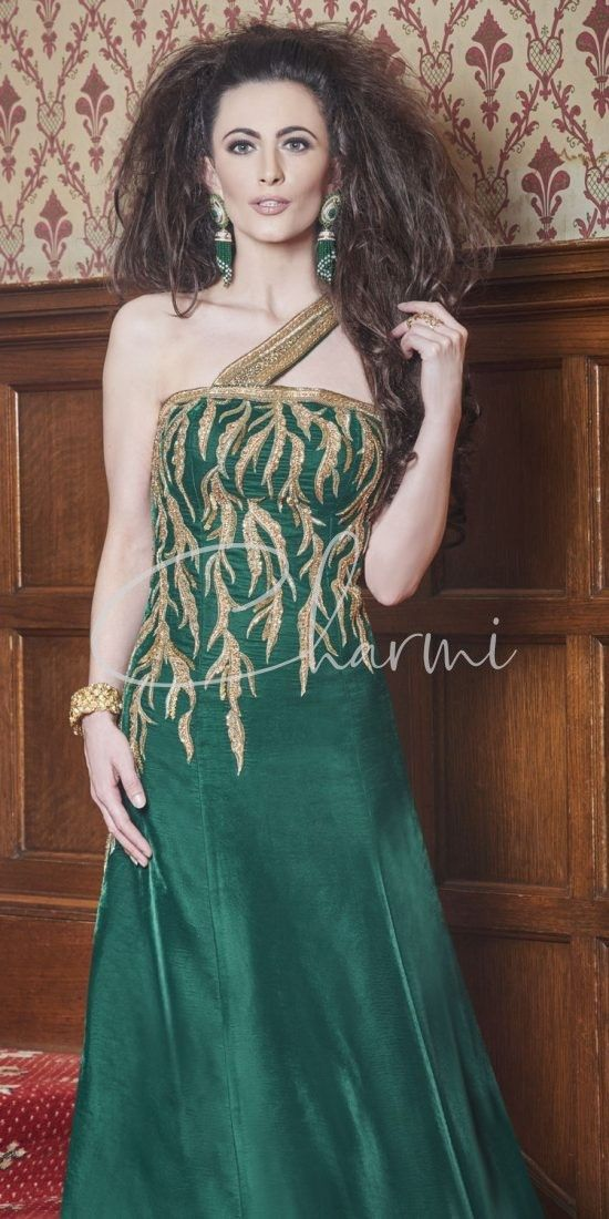 Green Velvet Fusion Party Gown