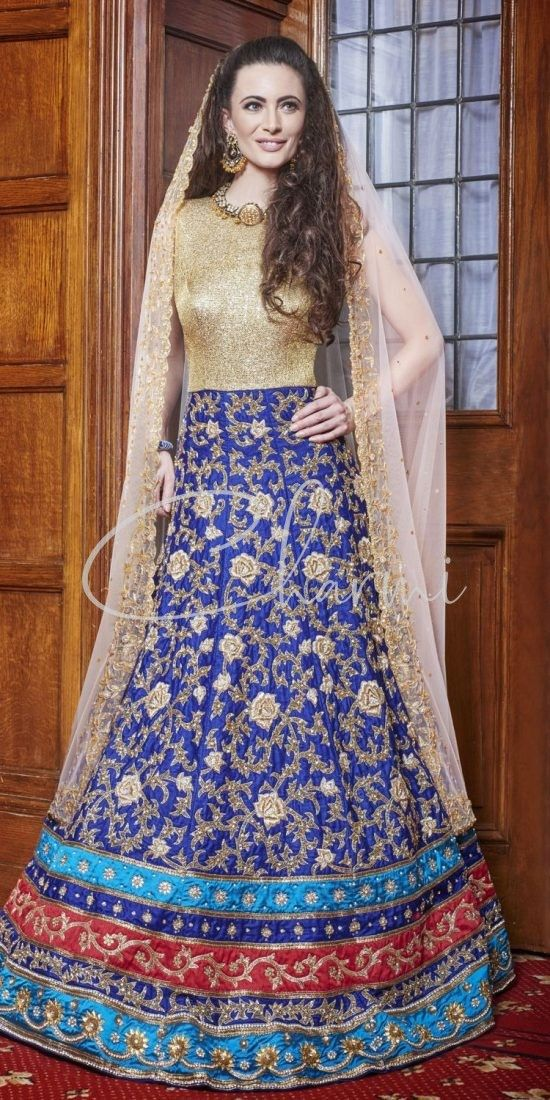 Blue & Cold Wedding Gown in UK