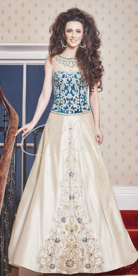 Gold & Teal Fusion Bridal Dress in UK