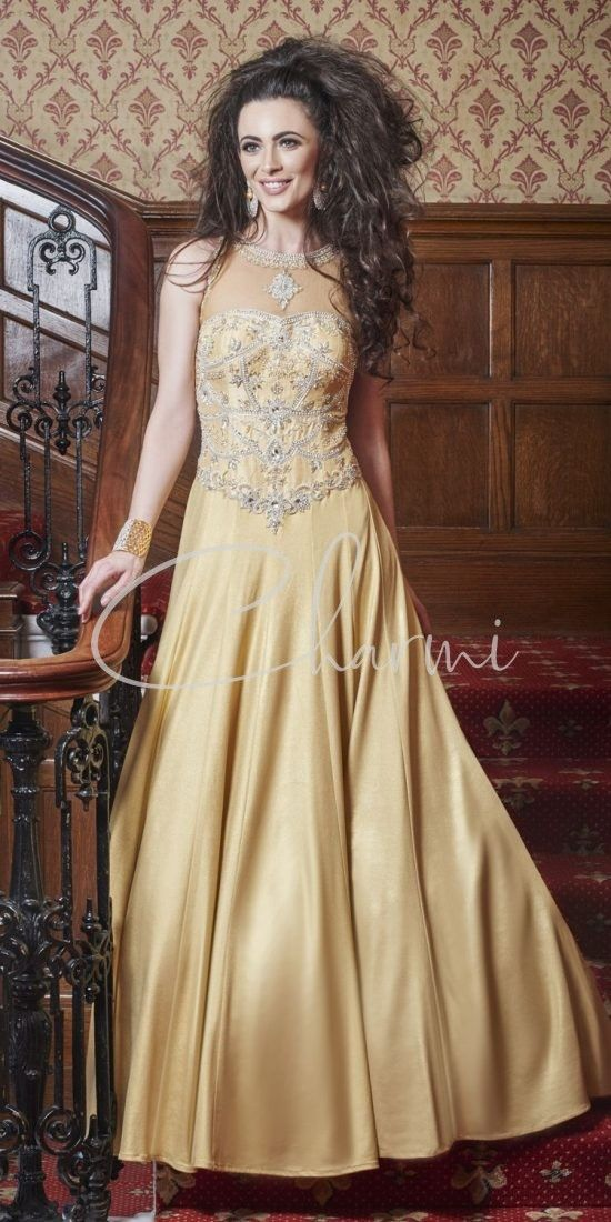 Gold Registry Wedding Dress with See Through Back
