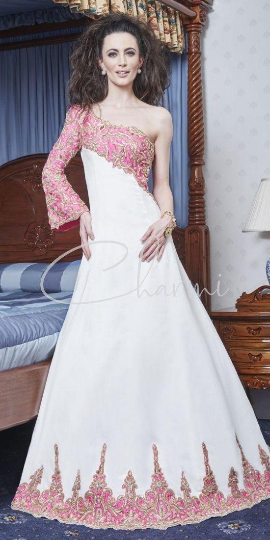 White & Pink One Shoulder Registry Dress in Uk
