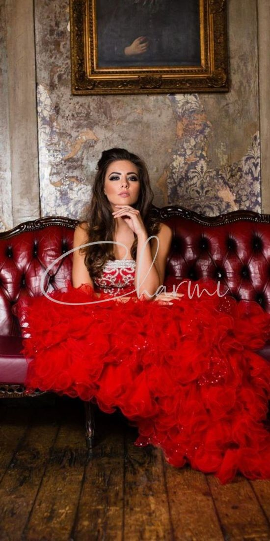 RED RUFFLED FUSION BRIDAL WEDDING GOWN