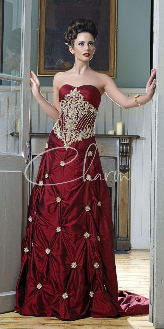 Dark Red Raw Silk Reception Gown