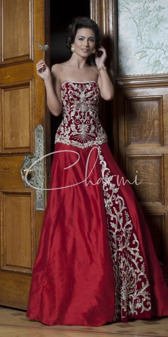 Red Raw Silk Panelled Fusion Wedding Gown